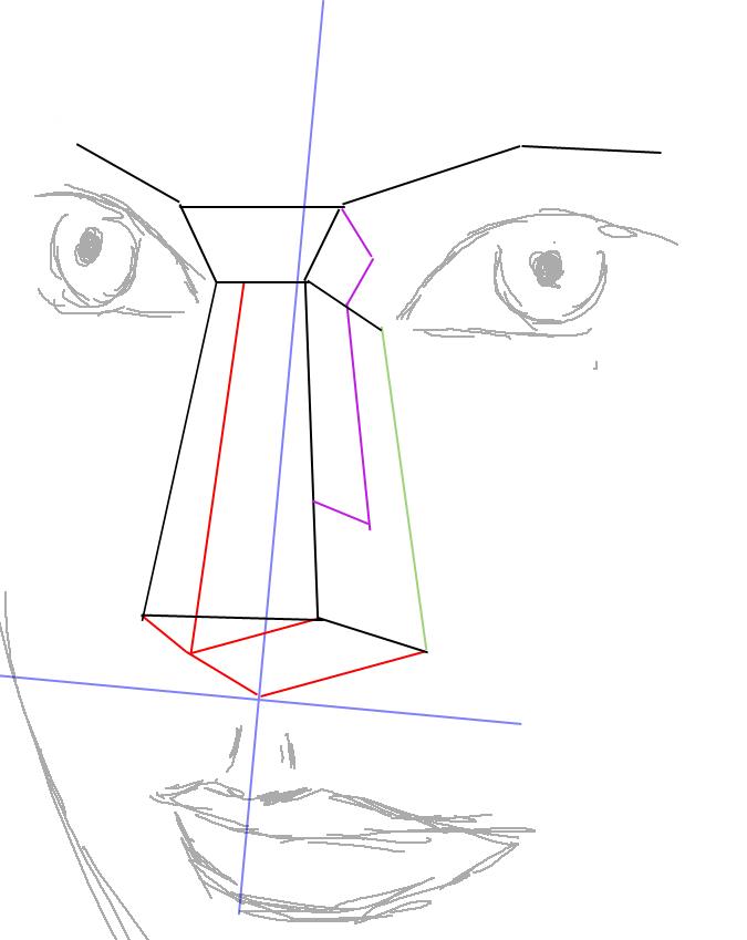 Рисуем нос в полупрофиль