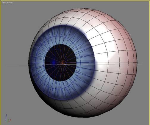 В свойствах материалов глазного яблока и роговицы добавляем текстуру, которая будет отвечать за рефлекс.