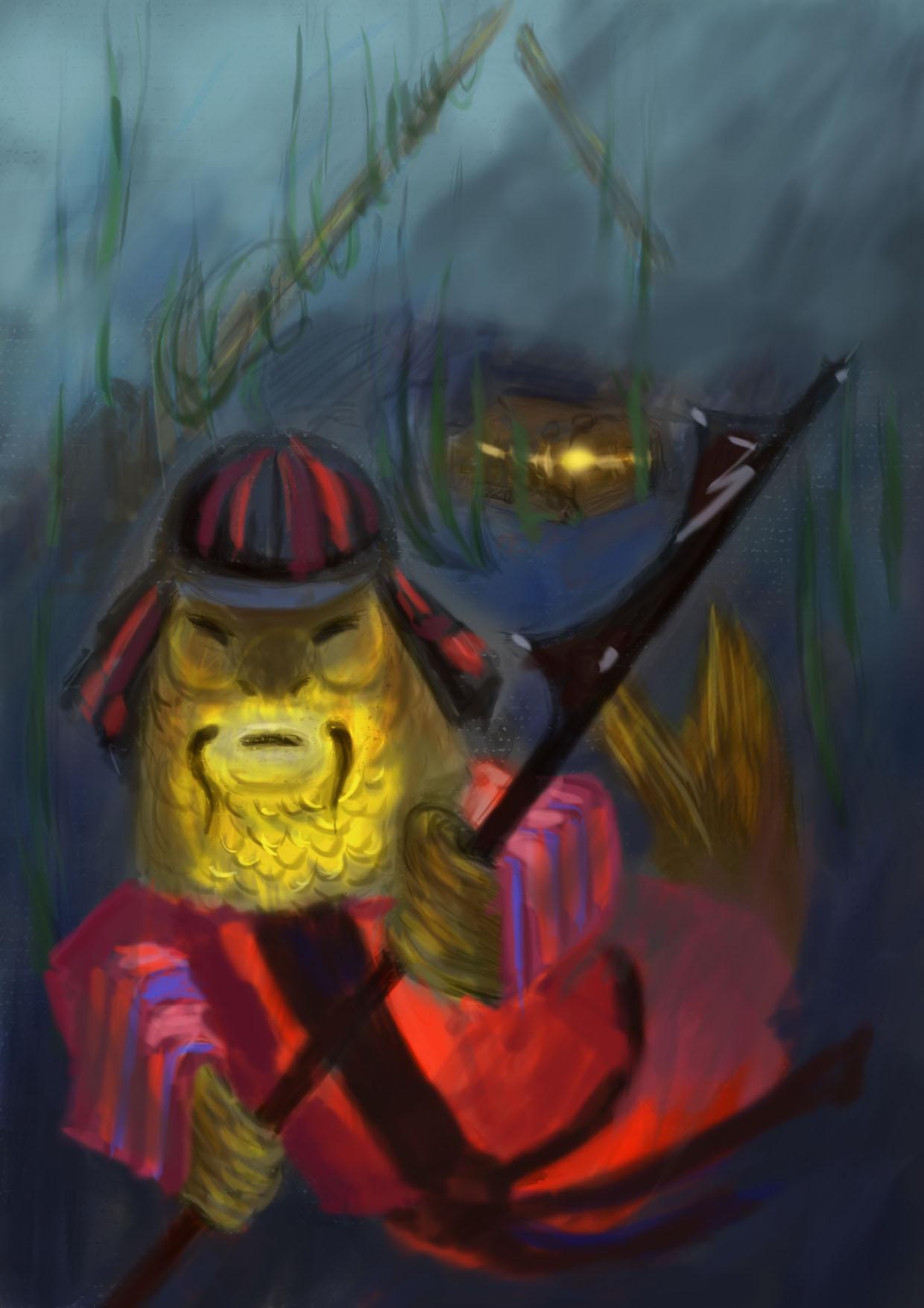 японский карп воин охраняет волшебную шкатулку в мельничном пруде.jpg
