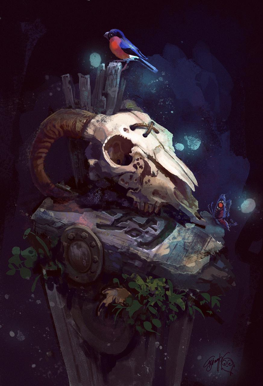 композиция из черепа дерево камень металл_7.jpg