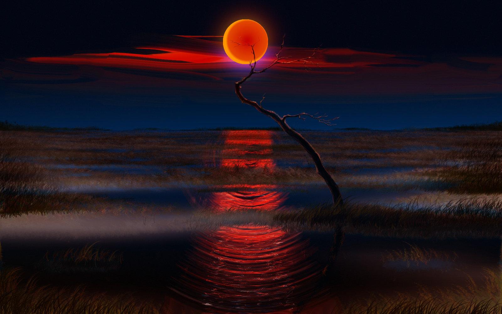 Картинки по запросу красная луна арт